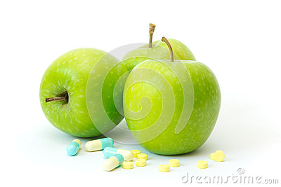 Green apple with slimming pills