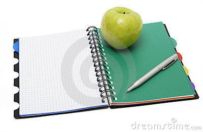 Green apple and Textbook