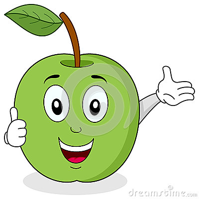 Green Apple Thumbs Up Character