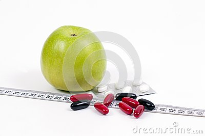 Green apple and vitamins,healty diet