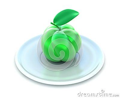 Green apple on white plate