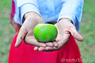 Green apple and women