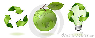 Green apple with world map and ecology icons.