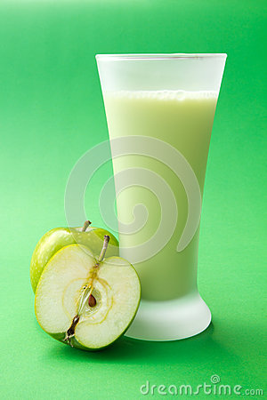 Green apple yogurt drink