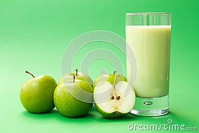 Green apple yogurt drink