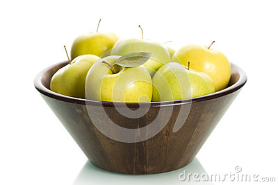 Green apples in basket, .