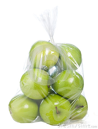 Free Green Apples In Plastic Bag Stock Image - 27234381