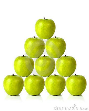 Green apples on a pyramid shape