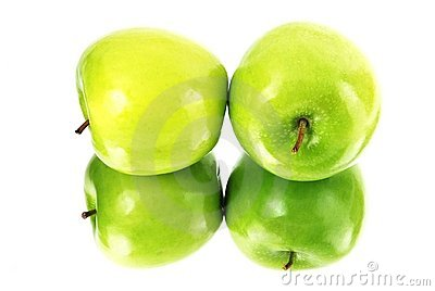 Green apples reflected it s shape