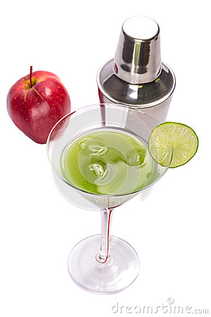 Green Appletini cocktail.