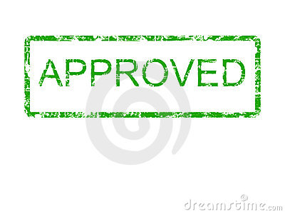 Green Approved rubber stamp