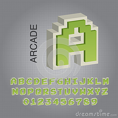 Green Arcade Alphabet and Numbers Vector