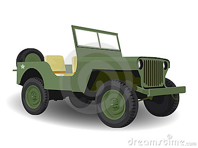 Green Army Jeep Vehicle