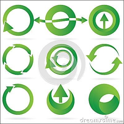 Green arrow circle design element icon set