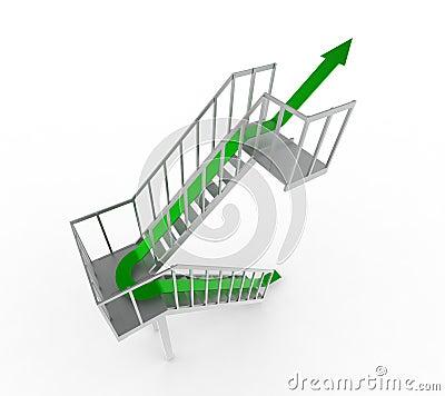 Green arrow upstairs