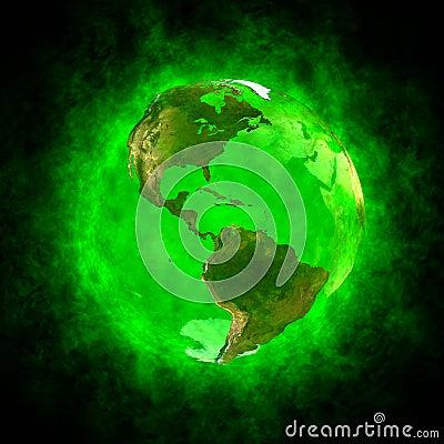 Green aura of Earth - America