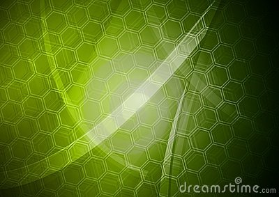 Green backdrop with hexagon texture