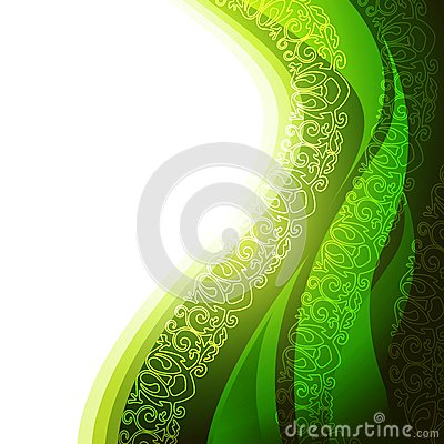 Green background with abstract leaf