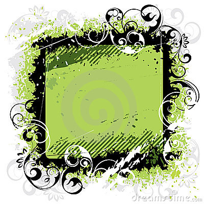 Green background black frame