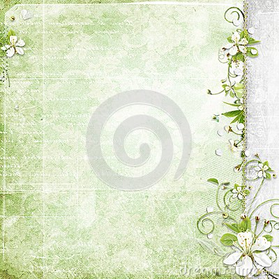 Green background with cherry flowers
