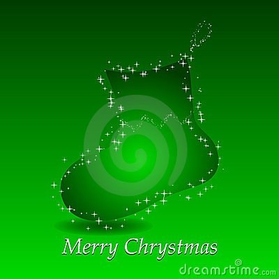 Green background with christmas gift sock