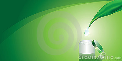Green background with cream and drop of pure wate