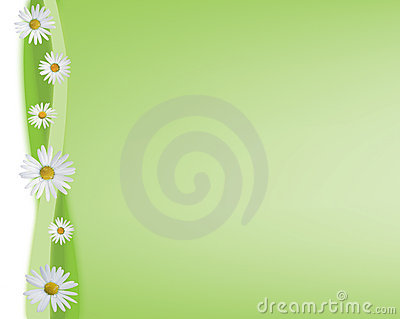 Green background with daisies