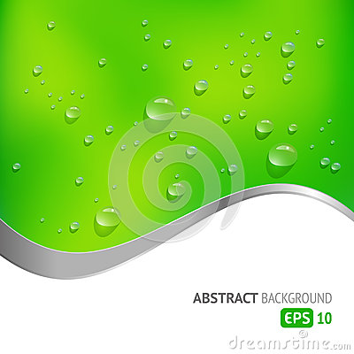 Green Background with Drops