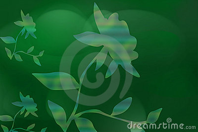 Green Background With Flora
