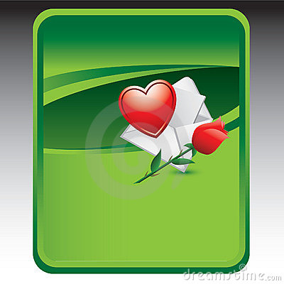 Green background with love note and rose