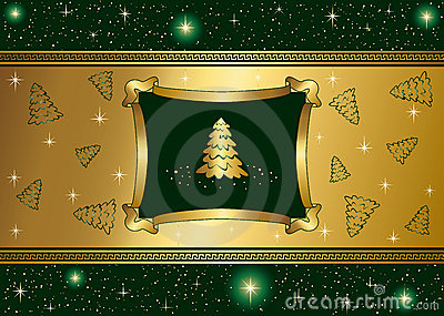 Green background with stars and Gold Christmas tre