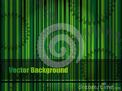 Green background with stripes and flower pattern,