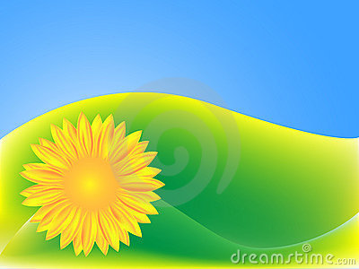 Green background with Sunflower