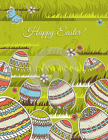 Free Green Background With Easter Eggs, Vector Stock Photos - 29934783