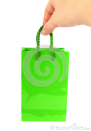 Green bag with hand