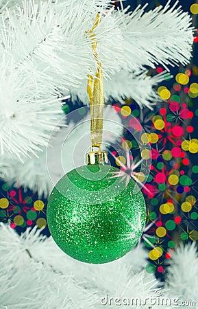 Green ball on the Christmas tree