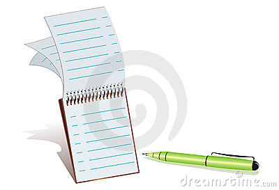 Green Ball-point pen and notepad