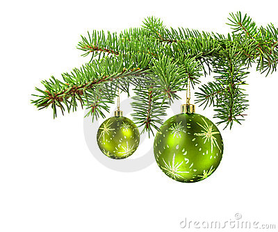 Green balls on christmas tree branch