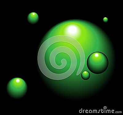 Green balls on dark, abstract background.