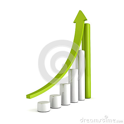 Free Green Bar Chart Business Growth With Rising Up Arrow Stock Photos - 39643023