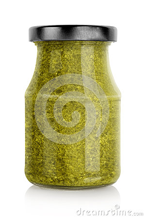 Green basil pesto jar