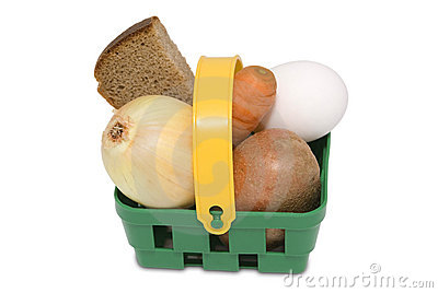 Green basket with food