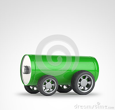 Green battery with car wheels