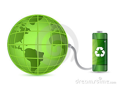Green battery with earth globe isolated