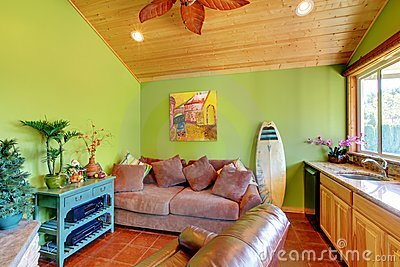 Green beach pool living room in the little house.