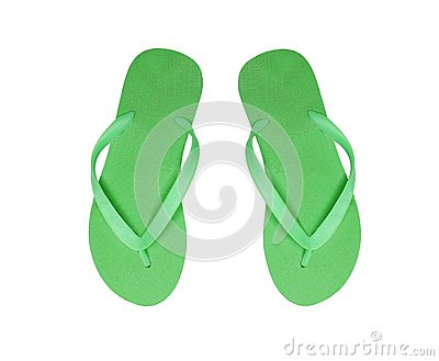 Green beach shoes isolated on white