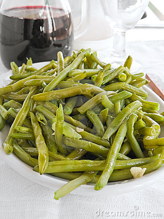 Free Green Beans Salad With Fork At Dinner. Stock Image - 13568621