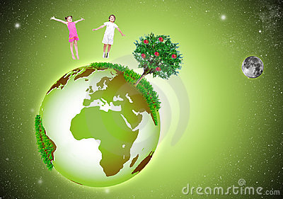 Green beautiful Earth in the Space, with two happy
