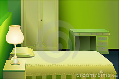 Green bed room vector
