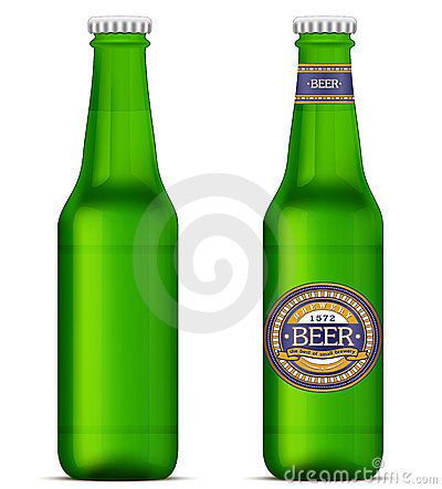 Green beer bottles with label template
